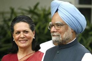 Sonia Gandhi and Manmohan Singh.